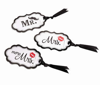 Lillian Rose Mustache and Red Lips Luggage Tags