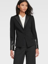 DKNY Collarless Blazer With Faux Leather Accents