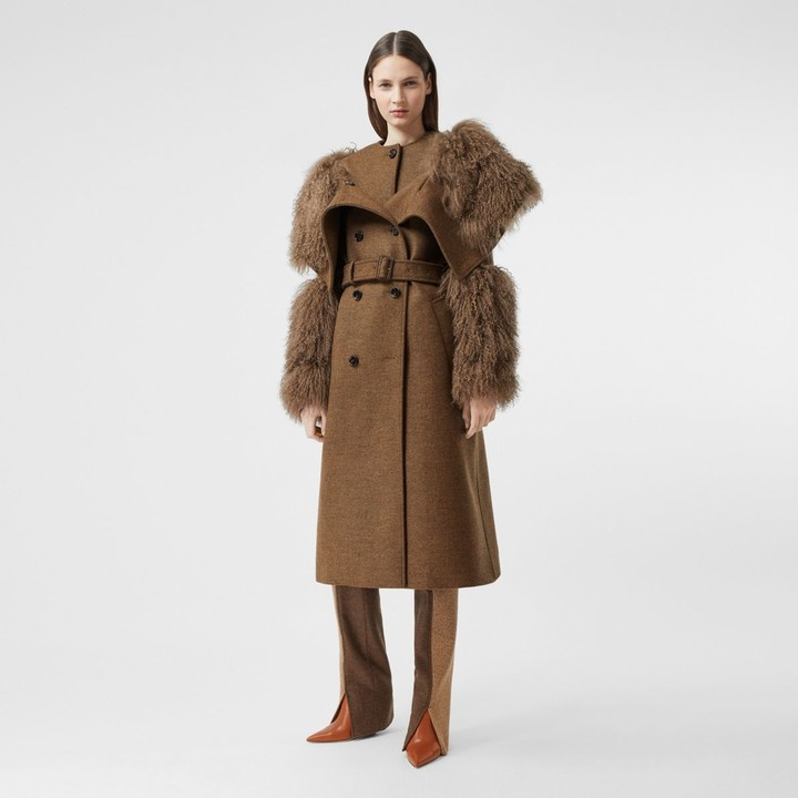 Burberry Shearling Trim Wool Cashmere Trench Coat