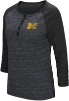 Colosseum Women's Heathered Navy Michigan Wolverines Slopsestyle Three-Quarter Sleeve Henley T-Shirt