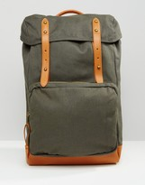 Asos Backpack In Khaki Canvas