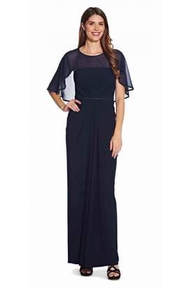 Adrianna Papell Chiffon Jersey Draped Gown