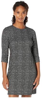 Calvin Klein Plaid Sheath Dress with Ruched Detail Sleeve (Black/Cream) Women's Dress