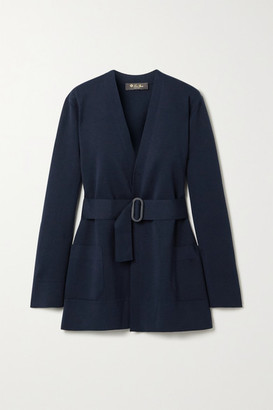 Loro Piana Belted Silk And Cotton-blend Cardigan - Midnight blue