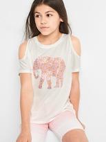 Embellished animal cold shoulder tee