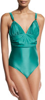 Vix Halter-Neck Ruched One-Piece Swimsuit, Green