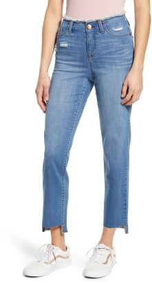 1822 Denim Fray Waist Step Hem Straight Leg Jeans