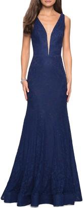 La Femme Plunge Neck Sparkle Lace Mermaid Gown