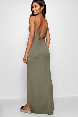 boohoo Knot Cross Back Maxi Dress