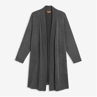 Joe Fresh Women+ Mix Knit Sleep Cardi, Dark Charcoal Mix (Size 2X)