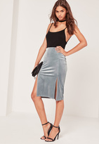 Missguided Velvet Split Front Midi Skirt Grey