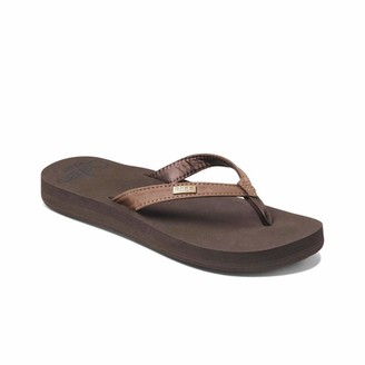 Reef Women's Sandals Cushion Luna | Vegan Leather Strap with Super Soft Cushion EVA | Brown | Size 5