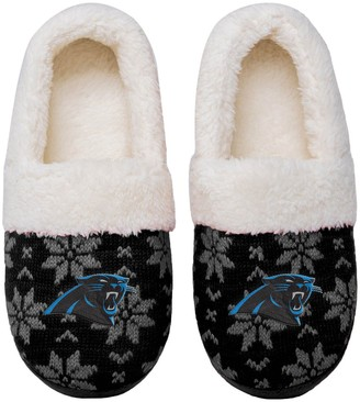 Women's Carolina Panthers Ugly Knit Moccasin Slippers
