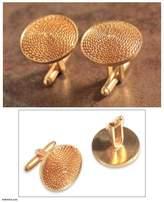 21k Gold Plated Silver Filigree Cufflinks, 'Starlit Sun'