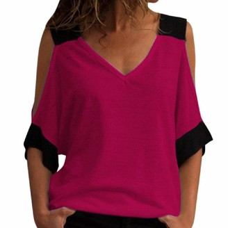 Nobrand Summer Casual Color Contrast Off Shoulder V-Neck Short Sleeve T-Shirt for Women Rose Red