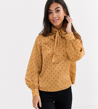 Fashion Union Petite bow front blouse in yellow floral satin