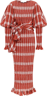 Raisa Vanessa Plaid Midi Dress With Ribbon Belt