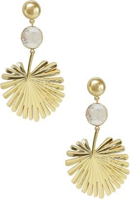 Ettika Gold Palm Leaf Freshwater Pearl Drop Earrings