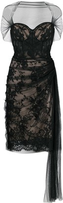 Alexander McQueen Lace-Panelled Silk Dress