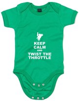 Brand88 Keep Calm And Twist The Throttle, Printed Baby Grow - 3-6 Months