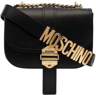 Moschino logo strap leather shoulder bag