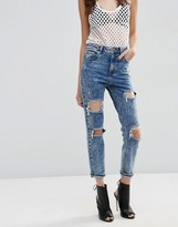 Asos FARLEIGH High Waist Slim Mom Jeans In Acid Wash With Super Busts