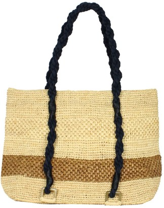 Mimosa Natural Beach Raffia Tote Bag With Brown Stripe