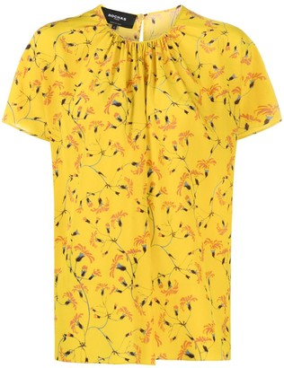 Rochas Floral-Print Short-Sleeve Blouse