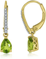JCPenney FINE JEWELRY Pear-Shaped Genuine Peridot and Lab-Created White Sapphire Leverback Drop Earrings