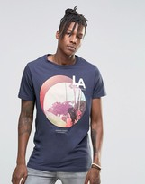 Pull&Bear T-Shirt With LA Print In Navy