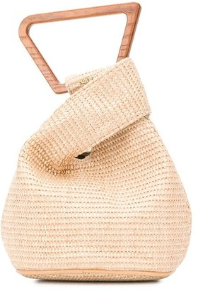 Cult Gaia Woven Twisted-Detail Tote Bag