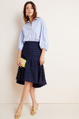 Maeve Miranda Textured Midi Skirt By in Blue Size XS