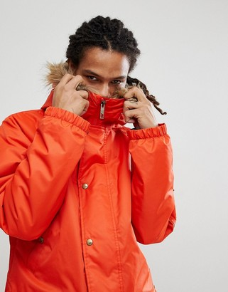 Analog Frazier snowboard insulated parka with detachable faux fur hood in red