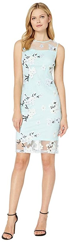 Calvin Klein Floral Print Lace Dress with Illusion