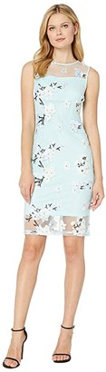 Calvin Klein Floral Print Lace Dress with Illusion (Seaspray Multi) Women's Dress