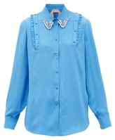 No.21 No. 21 - Crystal And Faux-pearl Embellished Crepe Shirt - Womens - Blue