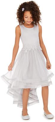 Speechless Big Girls Glitter-Mesh High-Low Dress
