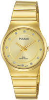 Pulsar Womens Crystal-Accent Gold-Tone Bracelet Watch