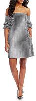 1 STATE Gingham Off-the-Shoulder Gathered Sleeve Poplin Sheath Dress