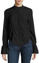 Frame Fitted Long-Sleeve Poplin Shirt Top, Black