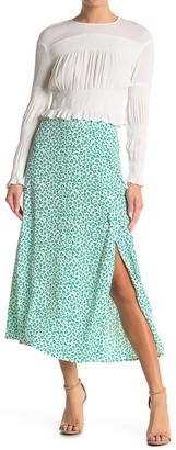Elodie K Patterned Side Slit Midi Skirt