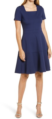 Rachel Parcell Square Neck Fit & Flare Dress