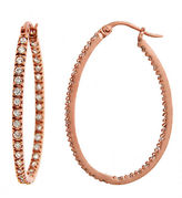 Lord & Taylor Rose Gold-Plated Small Cubic Zirconia Hoop Earrings
