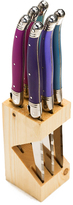 Jean Dubost Le Thiers 6 Steak Knives with Provence Purple Handles in Wood Block