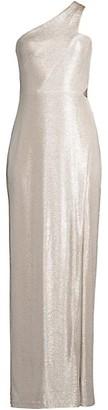 Aidan Mattox One-Shoulder Foil Knit Column Dress