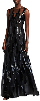 Akris Patent Leather Strip Sheer A-Line Dress