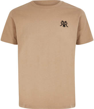 River Island Boys stone RVR embroidered T-shirt