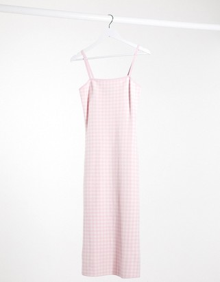And other stories & bandage gingham sleeveless midi dress in pink