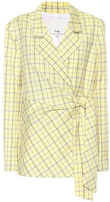 Tibi Checked wool-blend wrap blazer