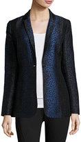 Elie Tahari Katlyn Leopard-Print One-Button Blazer, Black